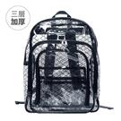 【(加厚)三層黑格紋透明雙肩後背包 SH623】高科技產業 抗靜電無塵室包 工具包 工作包