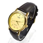CASIO手錶 小金面深咖皮革錶NEC144