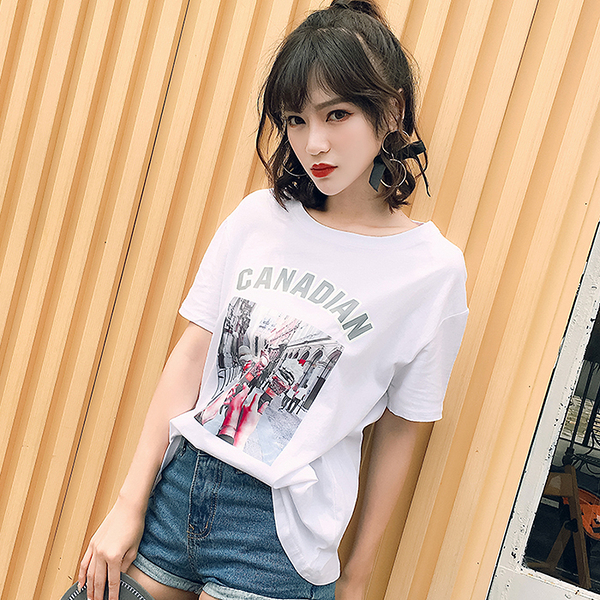 [超豐國際]夏季冰激凌印花圖案圓領短袖T恤女寬松顯瘦學生上衣1入