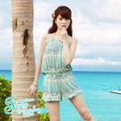 比基尼泳裝情侶裝-日本品牌AngelLuna 現貨  波西米亞風印花鋼圈連身褲三件式溫泉沙灘泳衣
