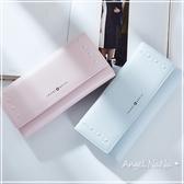 長夾-防磨耐刮純色凹凸鉚釘簡約三折女皮夾 Angelnana (SMA0203)