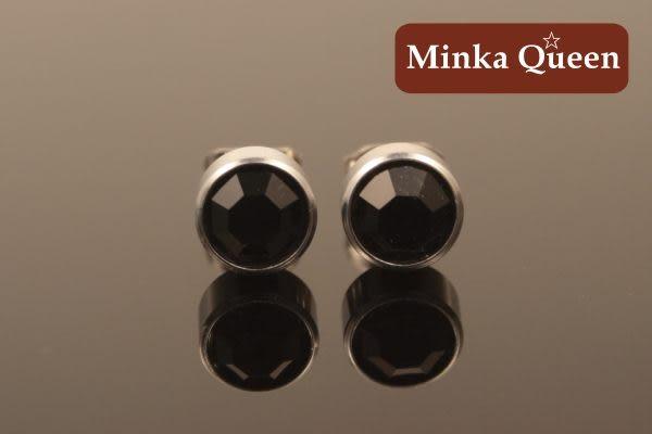 德國鈦鋼 黑色精緻水鑽 直立式抗敏耳環(一對)(5 mm)