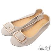 Ann'S高雅氛圍-金色方扣全真皮柔軟平底娃娃鞋-灰