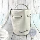 BRAND楓月 BALENCIAGA 巴黎世家 638342 白色 鱷魚壓紋 皮革 水桶包 肩背包 側背包