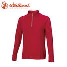 【Wildland 荒野 女 彈性針織麻花時尚上衣《玫瑰紅》】0A72651/半領襟/運動衣/休閒衫/吸濕排汗