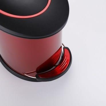 紐約緩降防指紋垃圾桶5L-紅