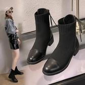 飛織襪子鞋女粗跟後綁帶襪靴新款秋季百搭彈力靴瘦瘦針織短靴 遇見初晴