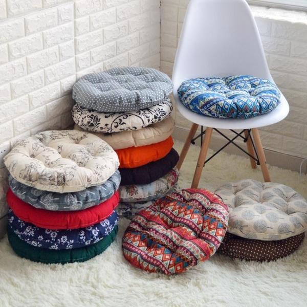 促銷款坐墊 棉麻坐墊榻榻米圓形坐墊辦公室椅墊加厚布藝學生板凳藤椅軟墊子