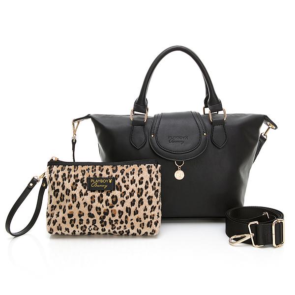 PLAYBOY-  手提包附長背帶 Leopard時尚豹豹系列 -黑色