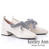 ★2019春夏★Keeley Ann慵懶盛夏 復古蝴蝶結小方頭包鞋(米白色)-Ann系列