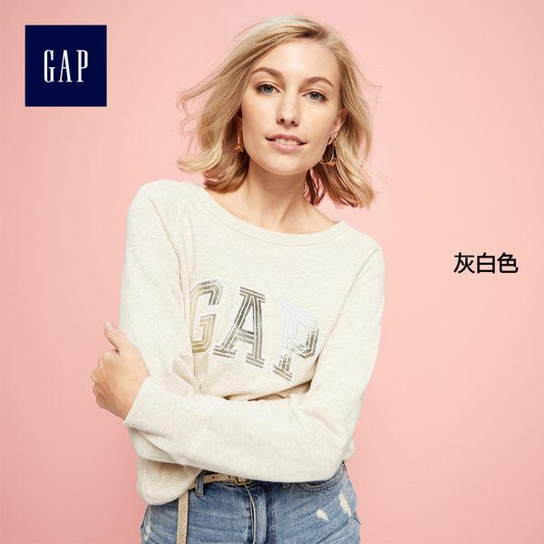 Gap女裝 Logo系列柔軟毛圈布金屬感套頭長袖運動衫 223574-灰白色