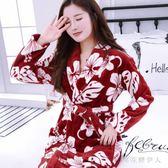 中大尺碼睡袍 可愛法蘭絨冬季加厚加長情侶男女冬天長袖珊瑚絨睡衣 AW6681【棉花糖伊人】