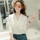 白色襯衫女上衣夏季七分袖百搭雪紡衫寬鬆v領雪紡襯衣潮 森雅誠品