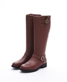 MICHELLE PARK 秋冬騎士靴高筒靴粗跟圓頭牛皮復古休閒時尚長筒靴-咖啡色