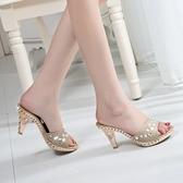 高跟涼鞋 2021新款夏季涼拖鞋女鞋子英倫風時尚亮片高跟拖鞋粗跟舒適潮百搭 百分百
