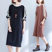 洋裝【K31】FEELNET中大尺碼女裝2018秋裝韓版圓領中長款寬鬆純棉長袖洋裝 均碼