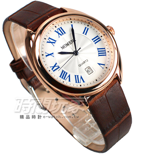 MOMENT舜時 日本機蕊 羅馬風情 真皮錶帶 玫瑰金x咖啡色 男錶 中性錶 MO8093玫咖大