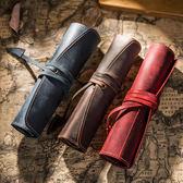 筆袋 復古頭層牛皮筆簾 真皮牛皮筆袋 簡約文藝筆簾 多功能卷筆袋 蒂小屋服飾