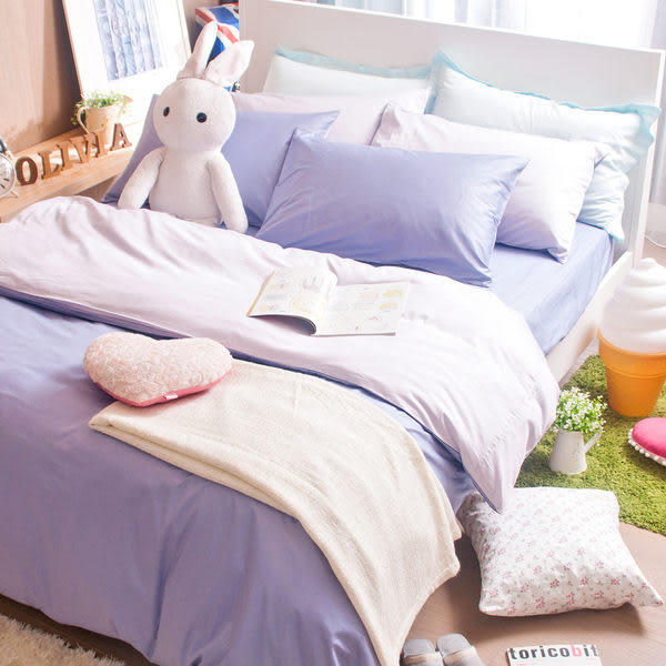 OLIVIA 【素色無印系列 薰衣紫 銀紫 】特大雙人6X7-床包/枕套組合 100%精梳純棉 台灣製