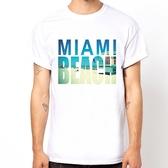 MIAMI BEACH短袖T恤-白色 邁阿密海灘設計插畫潮流相片照片藝術 390 gildan