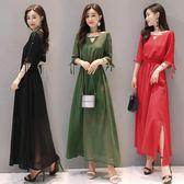 中大尺碼 雪紡洋裝 女裝夏季新款韓版短袖開叉氣質收腰大碼修身長裙 LR1057【歐巴生活館】
