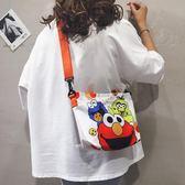 手提包帆布袋小斜背包女韓版百搭芝麻街側背手提卡通小包包 時尚新品
