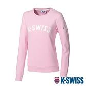K-SWISS Curve KS Logo Sweatshirt刷毛圓領上衣-女-粉紅