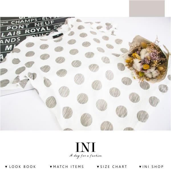 【INI】質感加分、進口透氣舒適竹節棉點點上衣.灰色