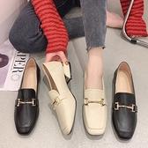 樂福鞋.韓版質感素面H字金屬釦方頭低跟包鞋.白鳥麗子