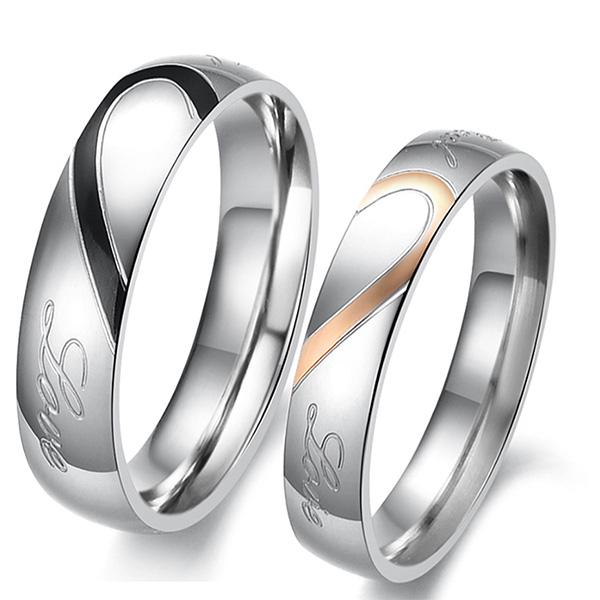 《 QBOX 》FASHION 飾品【R100N284】精緻情侶浪漫拼形愛心鋼對戒指/戒環(男/女單款)