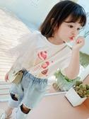 女童T恤 童裝女童短袖T恤蕾絲2020新款洋氣夏裝小童韓版上衣女公主t恤【快速出貨】