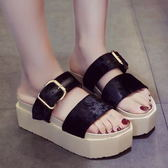 拖鞋.簡約絨面金屬釦厚底拖鞋.白鳥麗子