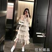 茶歇法式吊帶洋裝女年夏季新款收腰氣質超甜顯瘦仙女長裙子 可然精品