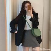 西裝外套網紅小西裝外套女2020 春秋 英倫風黑色西服套裝 感小眾上衣618  節