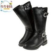 《布布童鞋》氣質黑色菱格紋皮質兒童馬靴19~23公分) [ Q9U983D ]