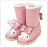 小花花日本精品♥ Hello Kitty 美樂蒂 雪靴 靴子 冬季保暖 臉頭 蝴蝶結 L號 78939608
