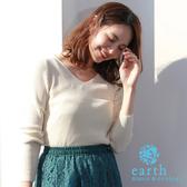 「Autumn」 基本款羅紋V領針織上衣 - earth music&ecology