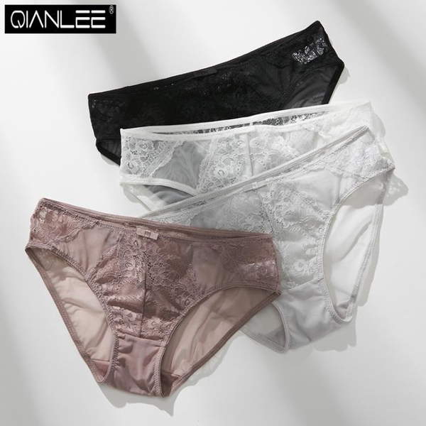 4條內褲女蕾絲性感火辣透明網紗中低腰少女式三角褲頭女士新款薄