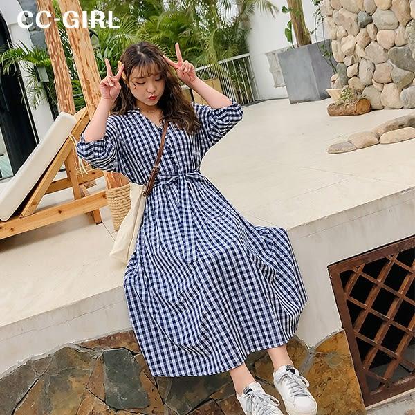 中大尺碼 V領藍格子洋裝(附綁帶) - 適XL~4L《 68001 》CC-GIRL