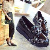 漆皮圓頭英倫風復古皮鞋 一腳蹬單鞋 厚底休閒鞋 米蘭shoe