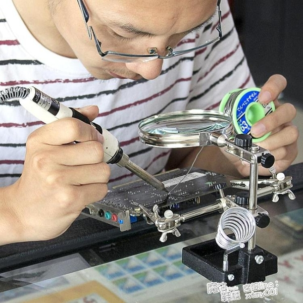 焊接維修放大鏡高清臺式電子電路板帶燈多功能支架夾鐘表手機維修 夏季新品