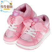 《布布童鞋》Moonstar日本粉紅愛心印花蝴蝶結兒童機能運動鞋(15~19公分) [ I7W334G ]