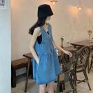 牛仔洋裝 法式復古小個子連身裙女夏季2021新款韓版氣質顯瘦V領牛仔背帶裙 寶貝 寶貝計畫 618狂歡