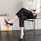 西褲 2021春夏新款西裝褲女高腰垂感寬鬆直筒褲小腳褲休閒哈倫褲子 17原本