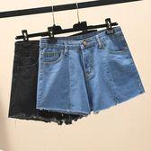大尺碼高腰牛仔短褲女夏季大碼胖mm韓版寬松顯瘦學生闊腿a字熱褲潮0810(R12)