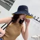 雙面刺繡字母遮陽帽漁夫帽大沿帽 夏季遮陽防曬【Z90455】