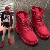 短靴 帥氣機車玫紅色馬丁靴女英倫新款春秋單靴短靴學生百搭平底冬 海港城