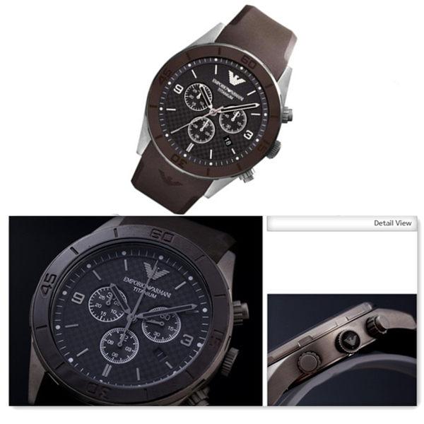 【EMPORIO ARMANI】運動休閒鈦金屬三眼男士石英錶(AR9501)