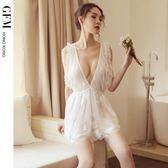 gfm情趣內衣深V低領蓬蓬裙睡裙火辣騷短透明蕾絲刺繡性感誘惑睡衣