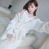 浴袍 珊瑚絨睡袍女秋冬長袖正韓甜美新娘浴袍法蘭絨加厚保暖睡衣兩件組